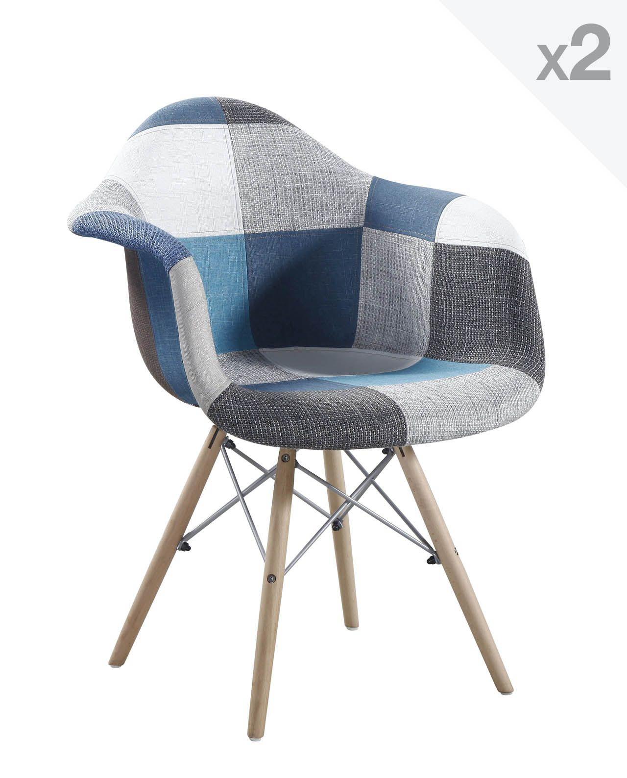 Lot De 2 Fauteuils Design DAW Patchwork NADOR Inspir Du Classique Charles Eames Cette