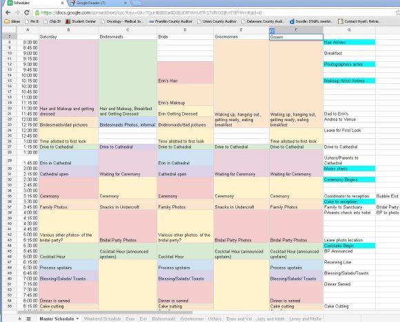Scheduling the Wedding Day-- broken-out | Wedding schedule ...