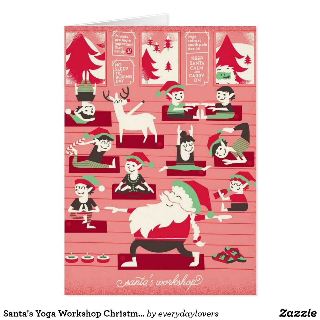 Santas Yoga Workshop Christmas Greeting Card Christmas Cards