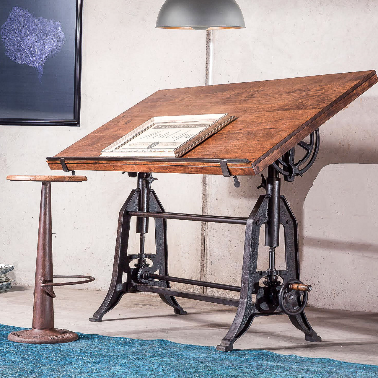 French Industrial Architect Drafting Table Walnut Vintage