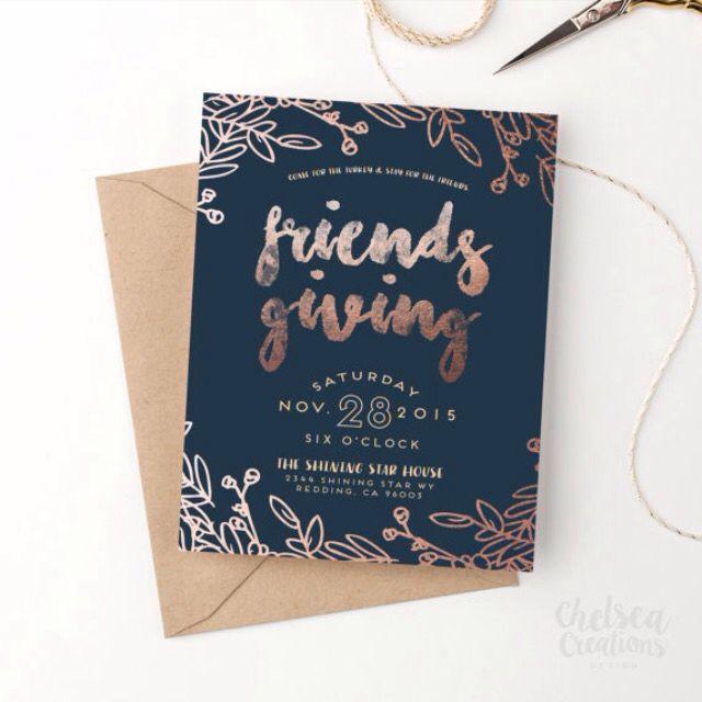 rose gold  u0026 navy friendsgiving  thanksgiving invitation