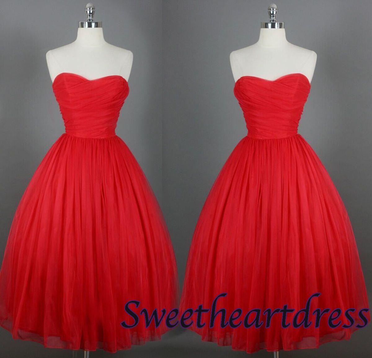 Red sweetheart tea length handmade prom dressbridesmaid dress