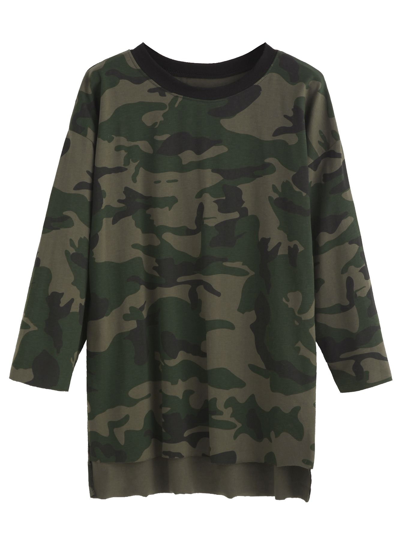 Camo Print High Low T-shirt — 0.00 € ----------------------------color: Green size: one-size