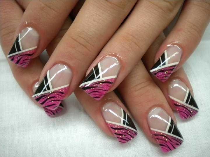 Pink and Black Zebra stripes Asymmetrical French Nail Art