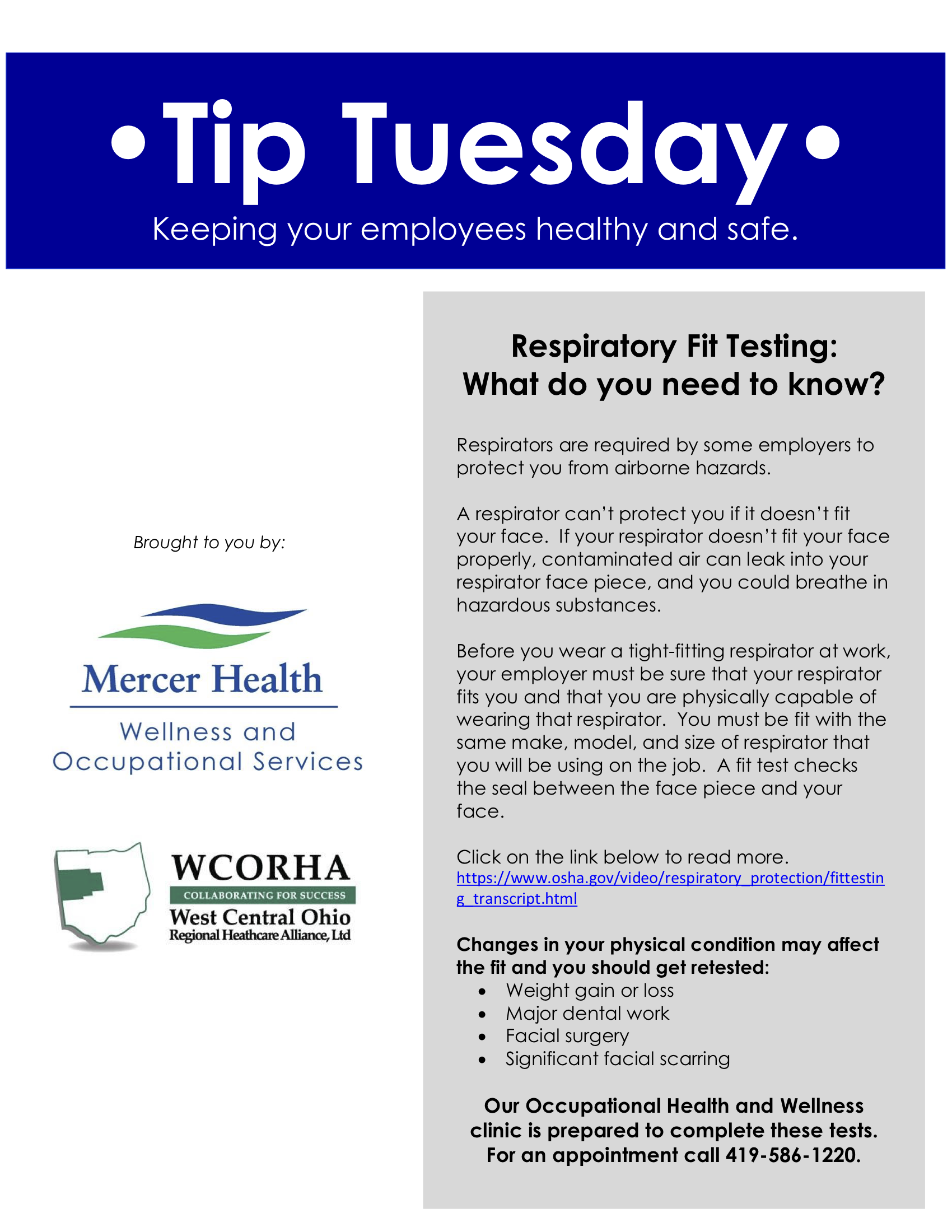 Respiratory Fit Testing Workplace Wellness Occupational Health Respiratory