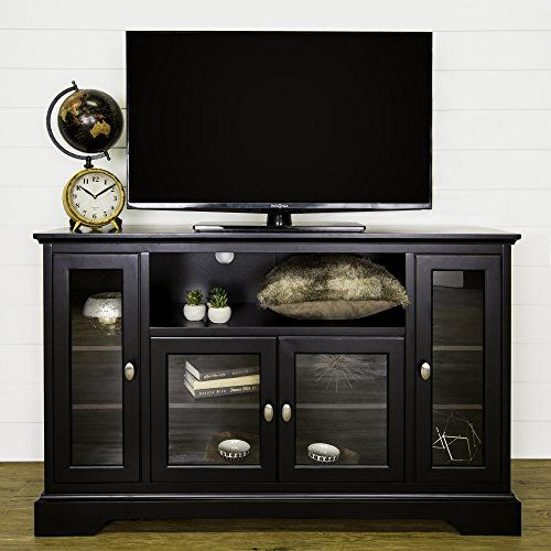 Black 52 Inch Walker Edison Wood Universal Stand with Storage Cabinets for TVs up to 58 Flat Screen Living Room Entertainment Center
