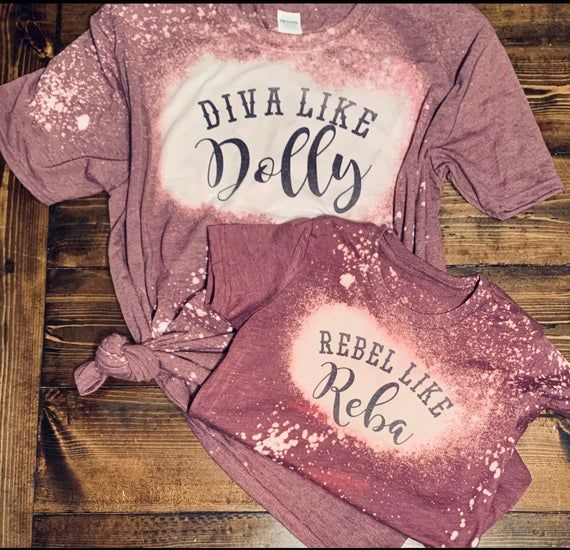 Diva like Dolly, Rebel like Reba   Mommy and Me matching Bleached tees Printed on a soft style tee for maximum comfort! These are brand new made to order. Due to the bleaching process NO TWO SHIRTS WILL BE EXACTLY THE SAME. We will try to be as close as possible :) Unisex sizing - fits tts 65% poly / 35% cotton blend shirt Smoke/pet free