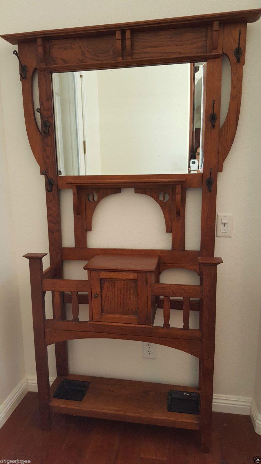 Arts and crafts hall tree - Crated Antique Oak Hall Tree Vintage Umbrella Stand Mission Mirror Arts Craft Ebay