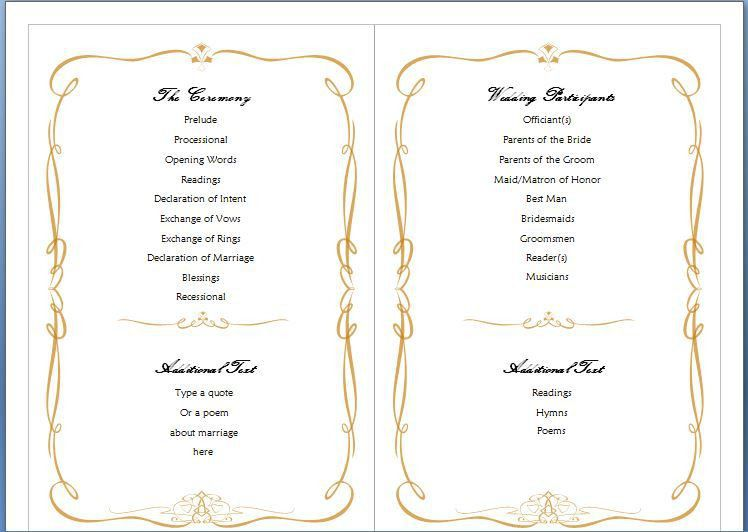 Free Ms Word Family Wedding Program Template Formal Word Templates - Wedding invitation templates: wedding program template word