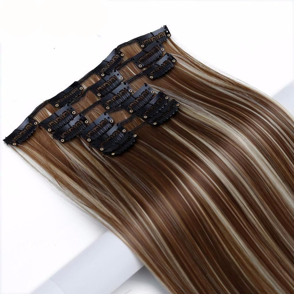 24 Long Straight Hair Extensions 16 Clips Heat Resistant Synthetic