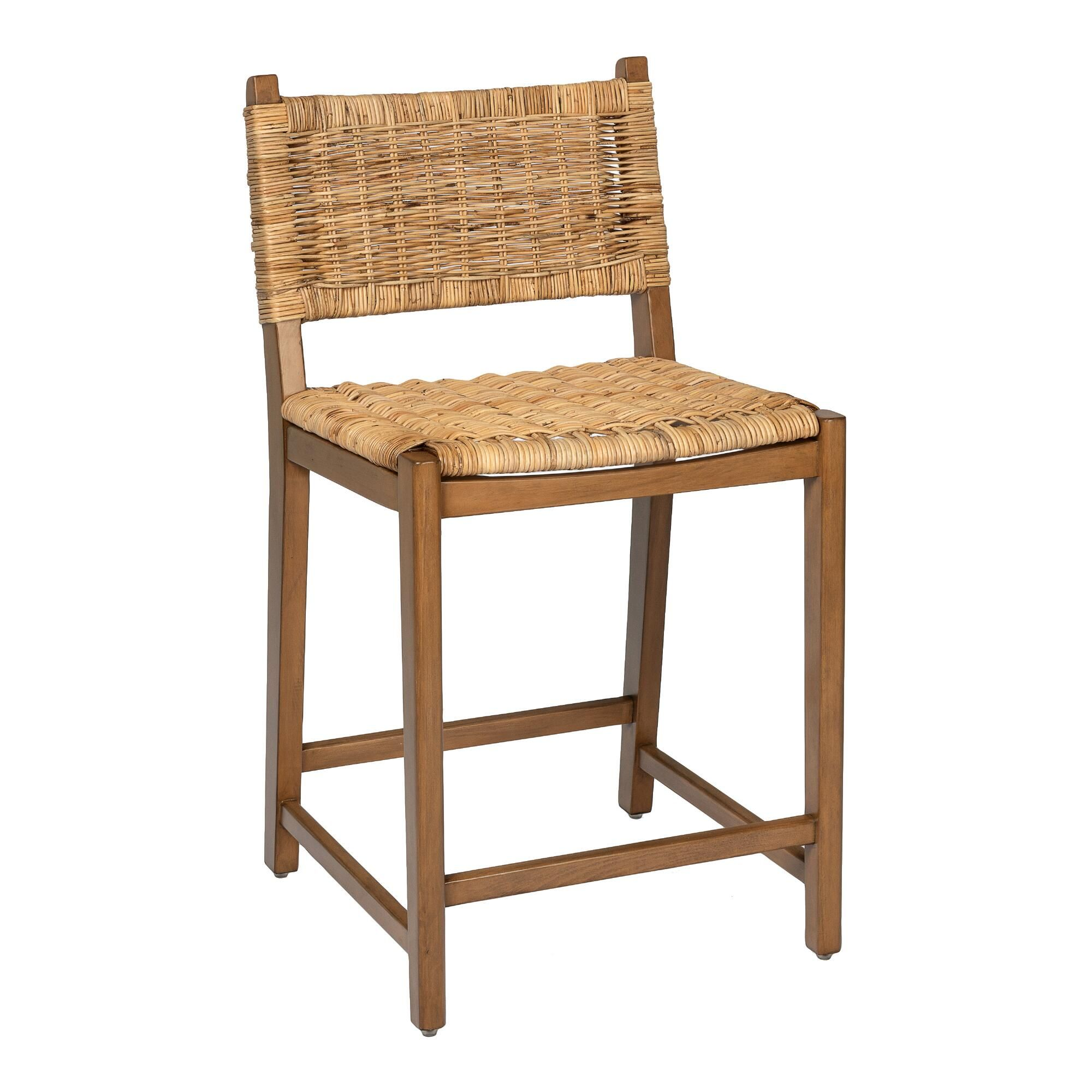 Natural Rattan And Wood Amolea Counter Stool Brown Multi Natural Wood By World Market In 2021 Counter Stools Rattan Bar Stools Woven Bar Stools