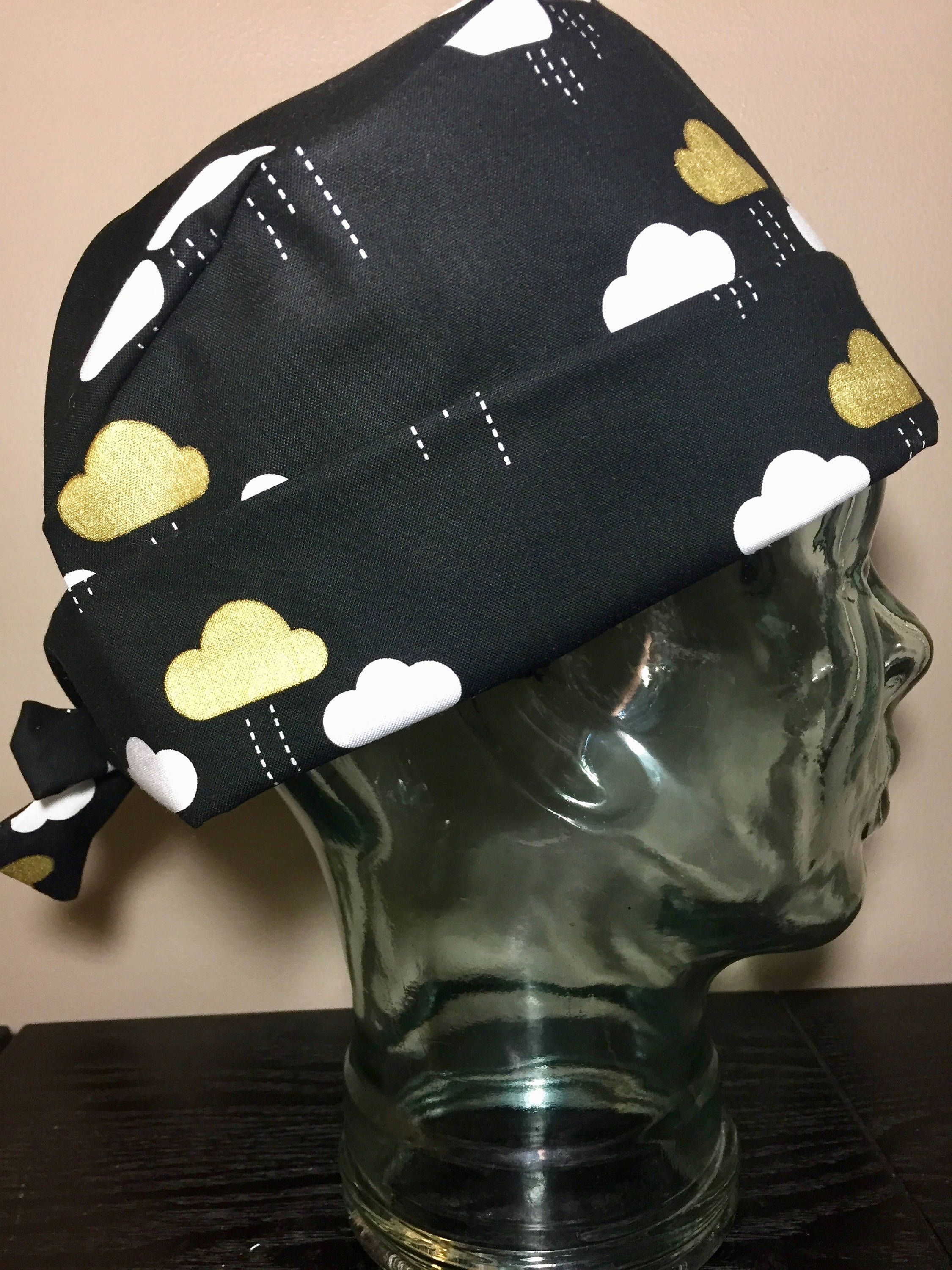 9bc6d58fd White & Metallic Gold Clouds on Black Surgical Scrub Hat, Women's ...