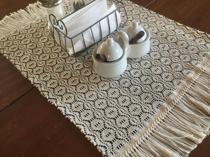 Modern farmhouse table runner woven in black and white