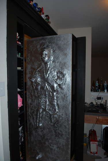 Bookcase Han In Carbonite Hidden Door Hidden Door Bookcase Door Secret Passageways