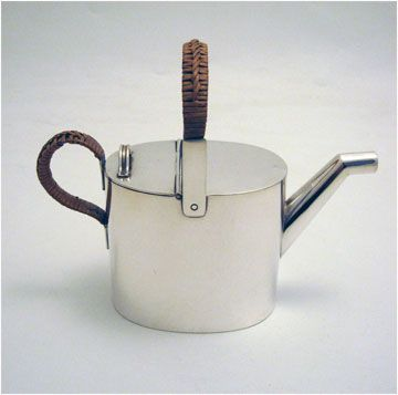 Christopher Dresser Silver Plated Teapot With Basket Weave Handle Made For Hukin Heath C 1880