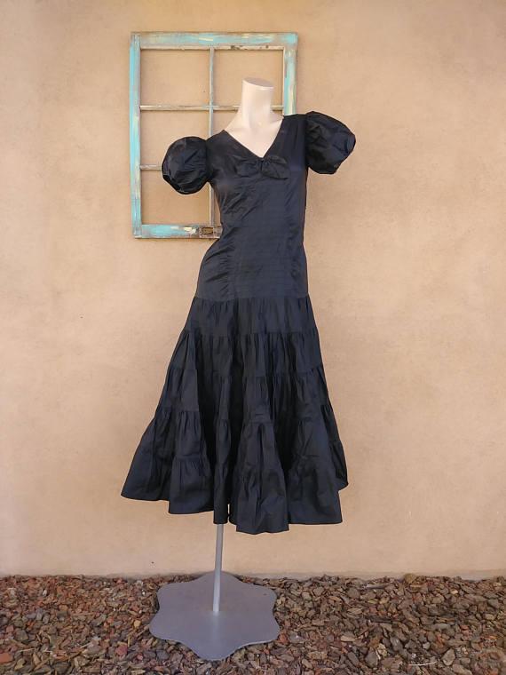 51074bfc4418 Vintage 1930s Evening Gown 30s Silk Taffeta Dress Sz X Small ...