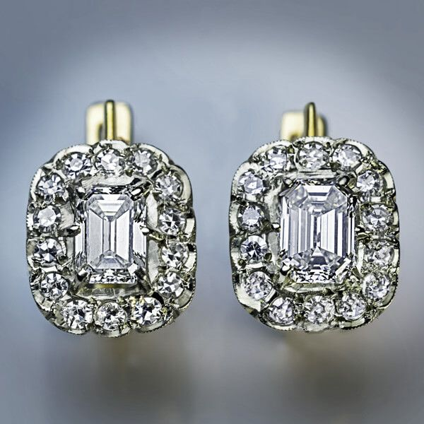 Unusual Vintage Soviet Russian Diamond Cer Earrings Circa 1960s Featuring Two Sparkling Emerald Cut Diamonds Surrounded By Single