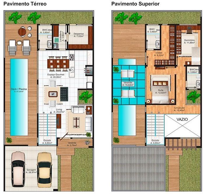 Plano de moderna casa de dos pisos con 204 m2 planos for Casa moderna de 50 m2