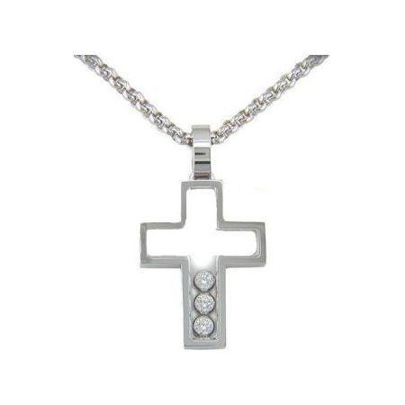 Chopard Pendentif Happy Diamonds Ce pendentif en forme de croix est fait en or blanc 18 carats et incrusté de 3 diamants de 0.17 carats. Le poids en or de cette croix est de 13...
