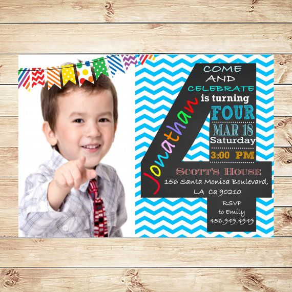 Blue Chevron 4th Birthday Party Invitations Personalied Boys With Photo Custom Boy Baby Invites Art Invitation