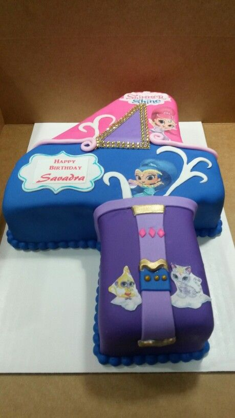 Number 4 Shimmer And Shine Cake Cupcake Birthday Girls 4th