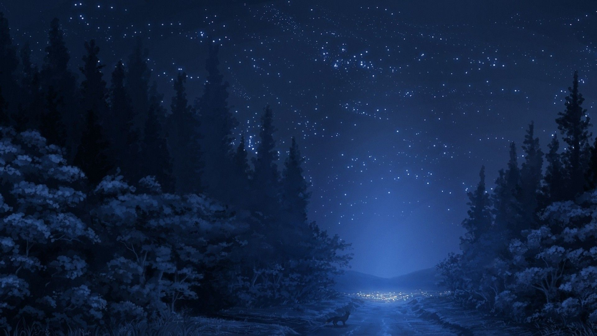 1920x1080 road, Stars, Night, Fox, Forest, Trees, Anime