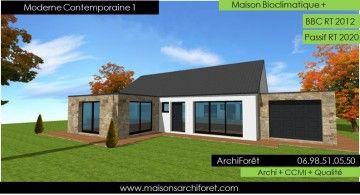 moderne contemporaine 1 photo maison moderne ossature bois plain pied architecte toit deux pentes tuiles noires - Plan Maison Moderne Contemporaine