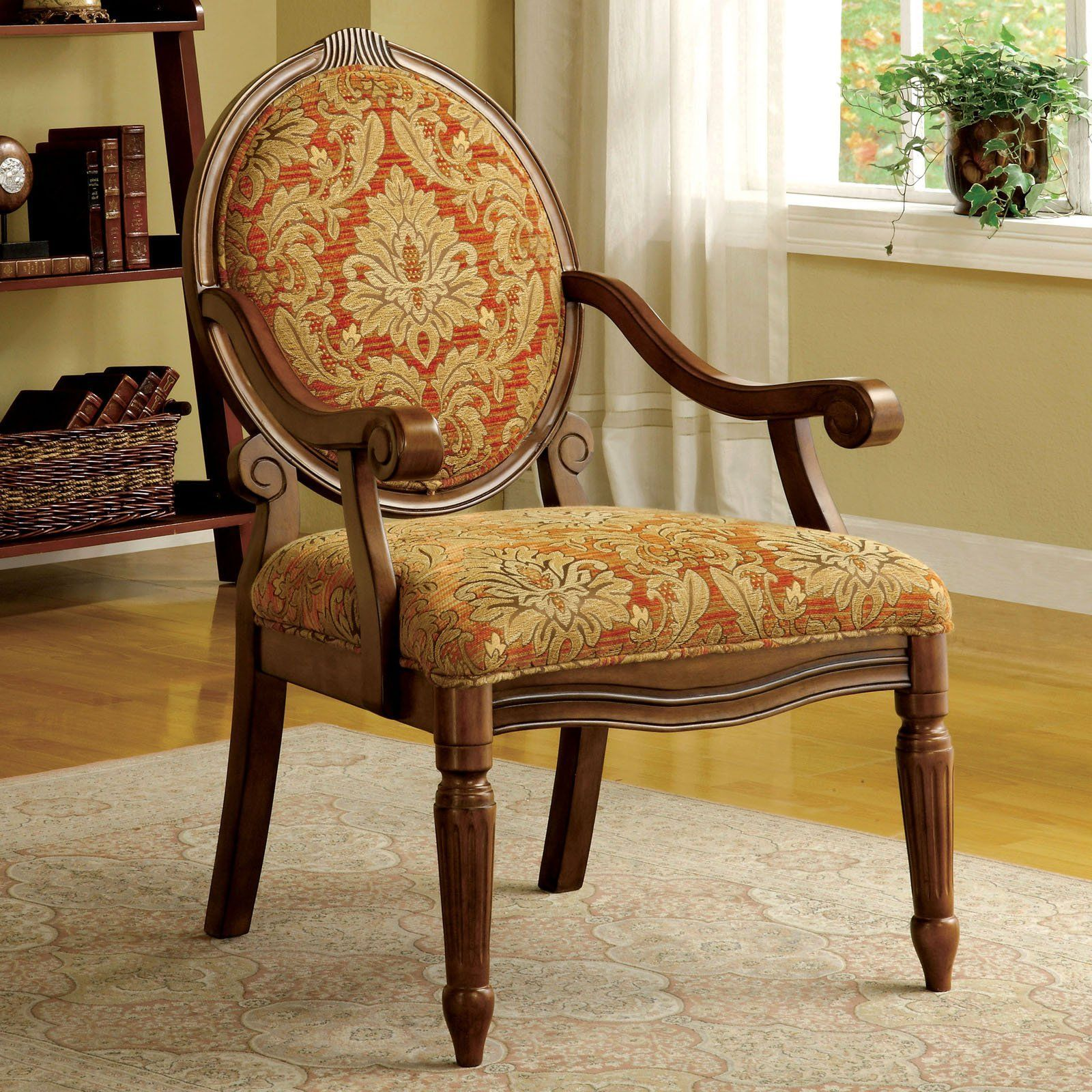 Furniture of america crenca padded accent chair with