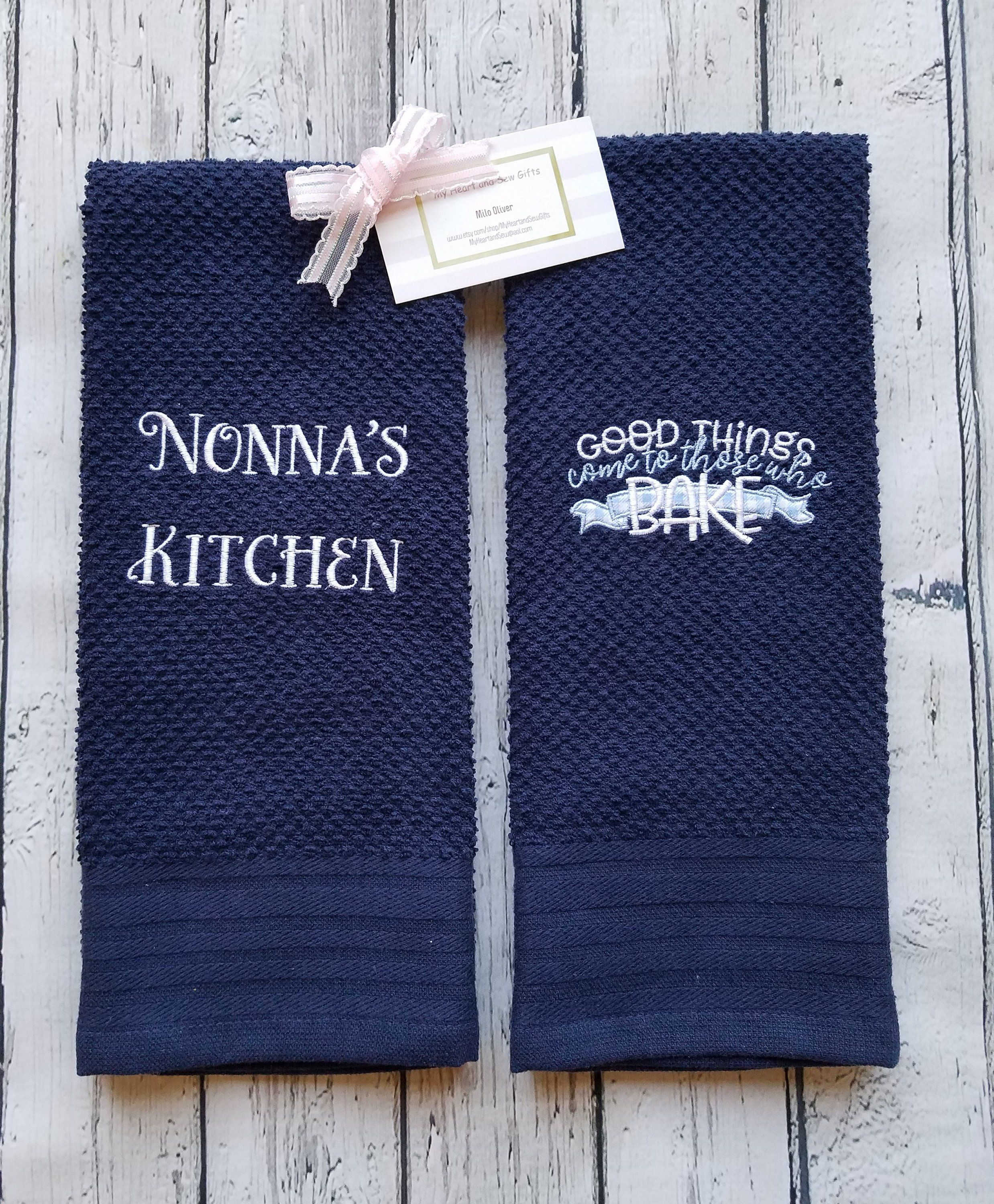 Matching Set Of Two Navy Blue Kitchen Towels Embroidered With Good Things Come To Those Who Bake Personalized Towel
