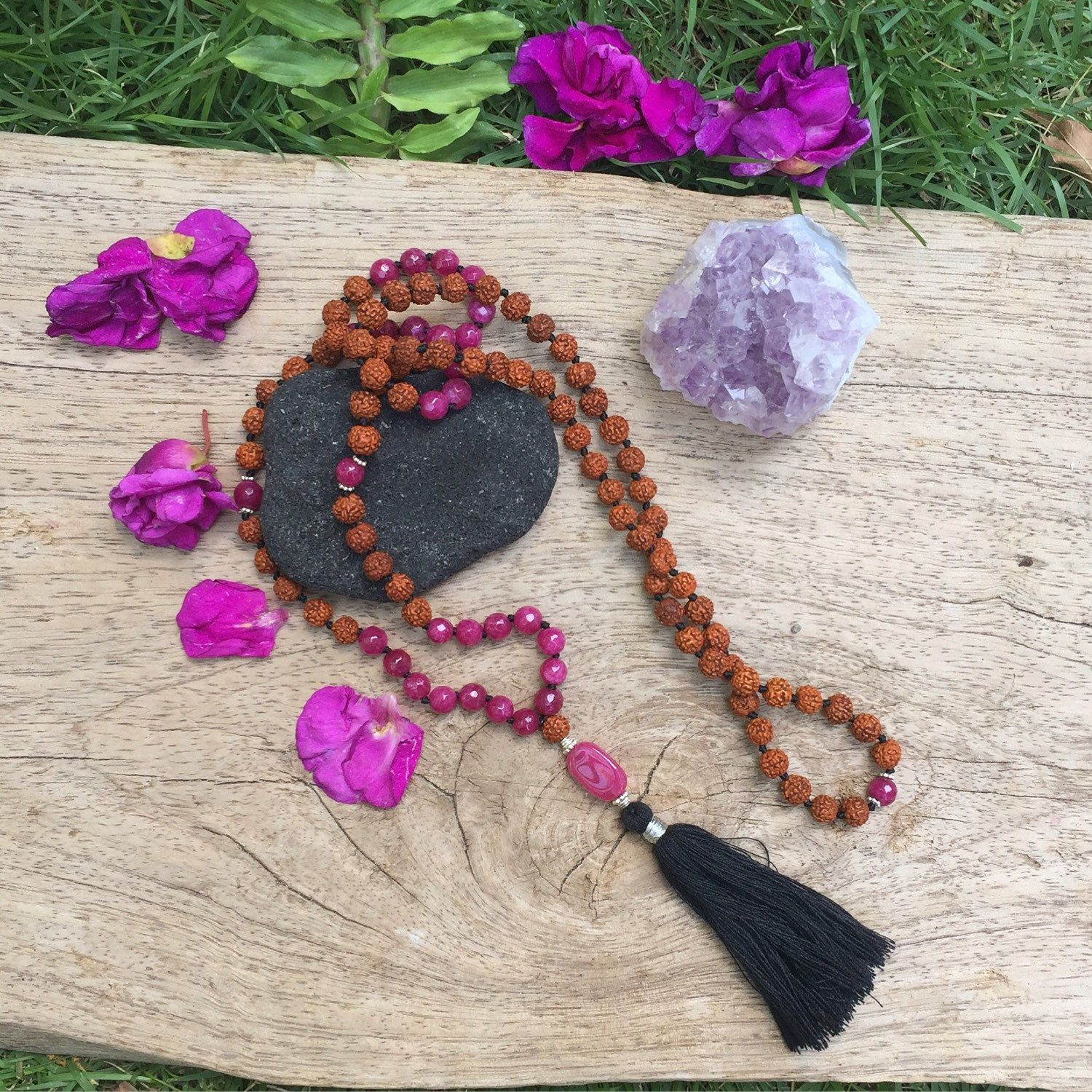 Ruby Sterling Silver Mala Necklace With Rudraksha Prayer Beads