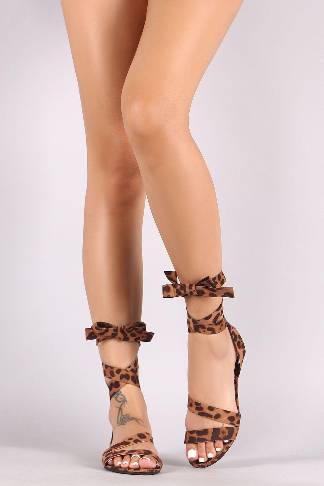 ad04120fb08999 Bamboo Leopard Open Toe Strappy Leg Wrap Flat Sandal