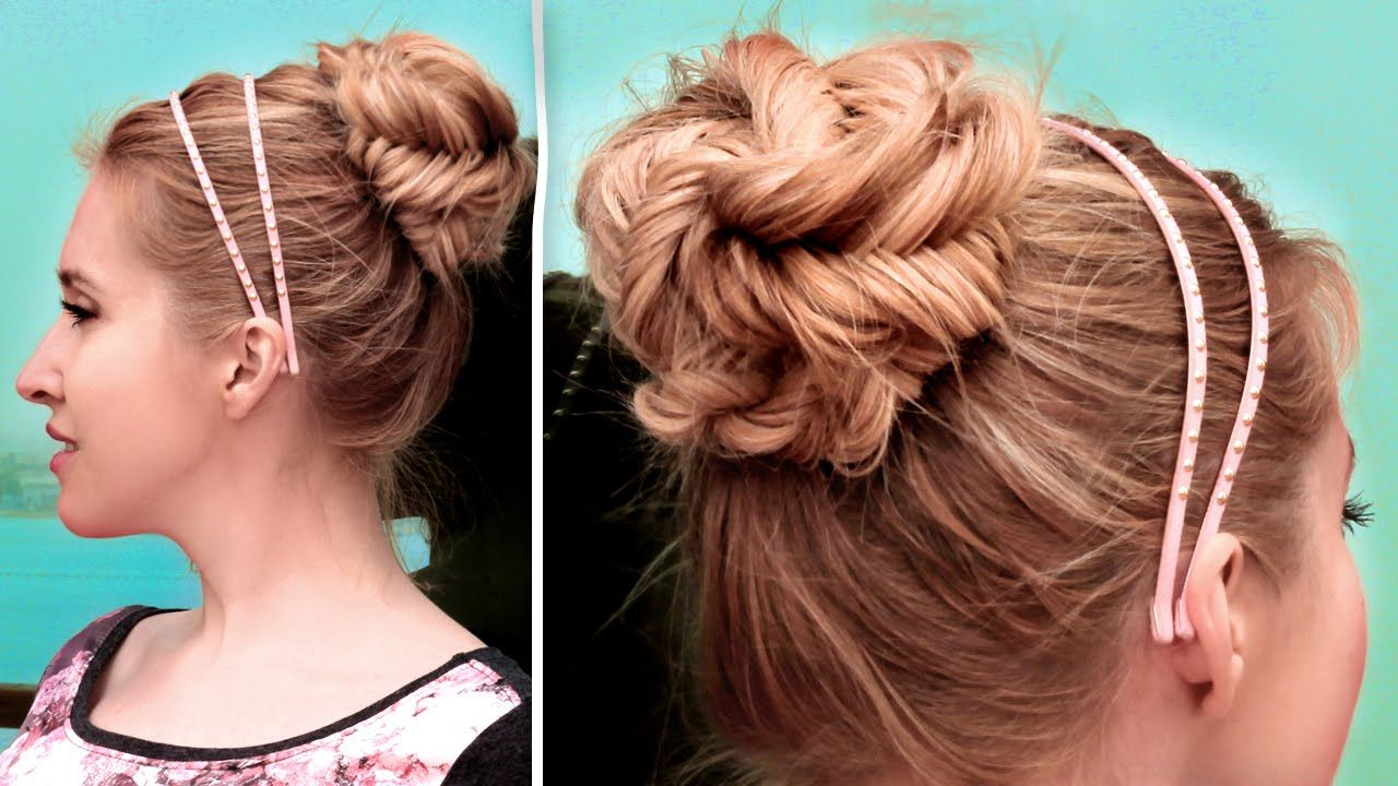 Fishtail braided updo hairstyle cute quick and easy hair