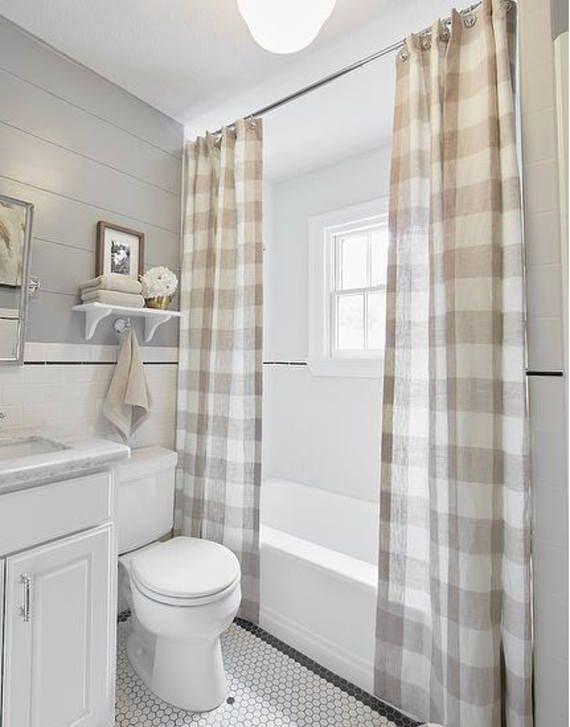 Farmhouse Shower Curtain Buffalo Check Natural Plaid White Small Farmhouse Bathroom Rustic Bathroom Decor Small Bathroom Remodel