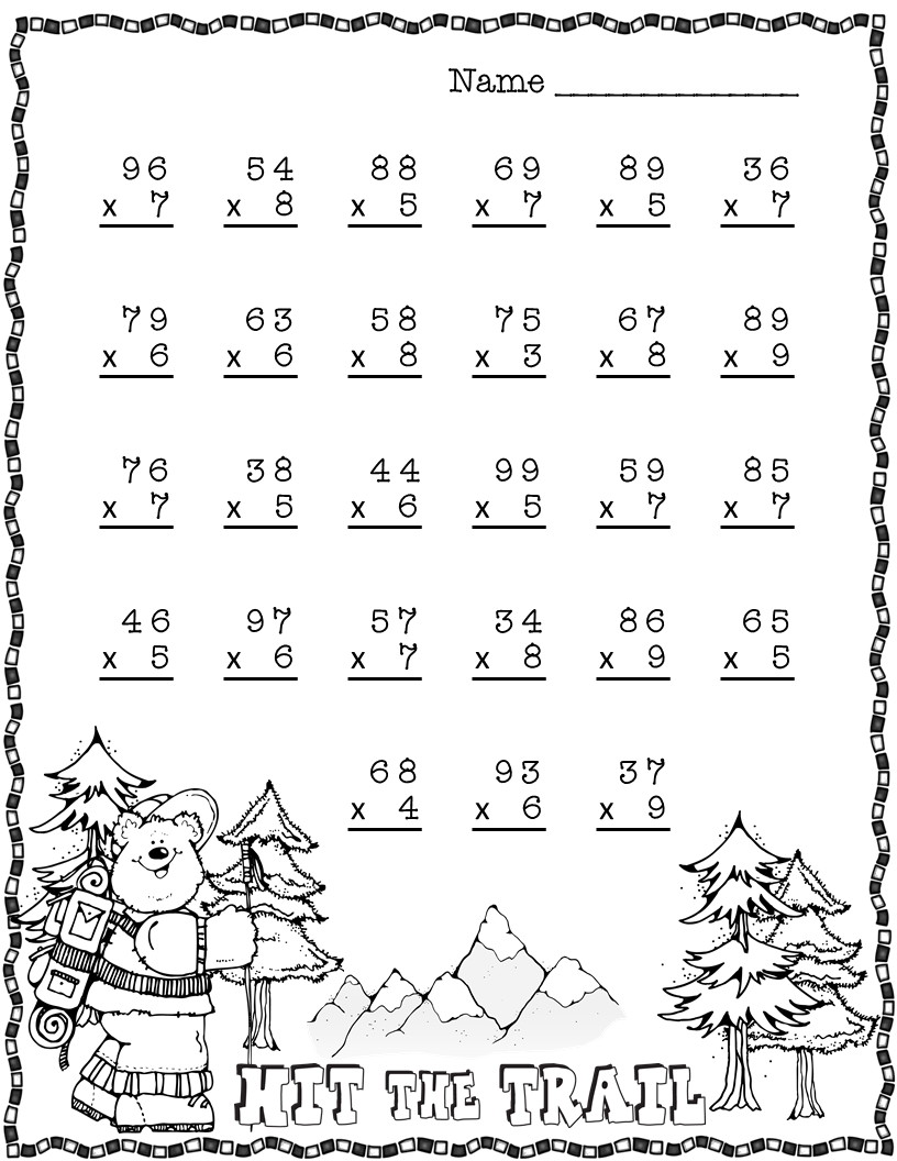 Summer Double Digit Multiplication With Regrouping, Two ...