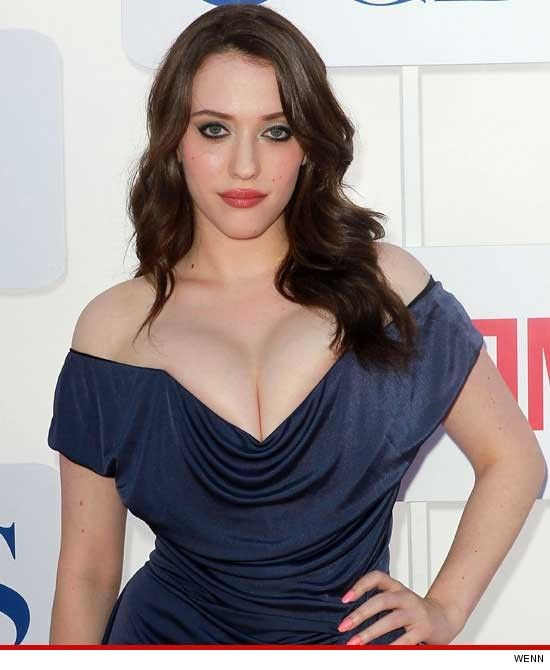'2 Broke Girls' Star Kat Dennings -- Cleavage Battle With 'Mad Men' Chick