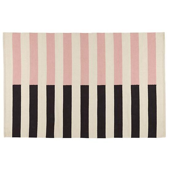 8 X 10' Half Stripe Rug (Pink)
