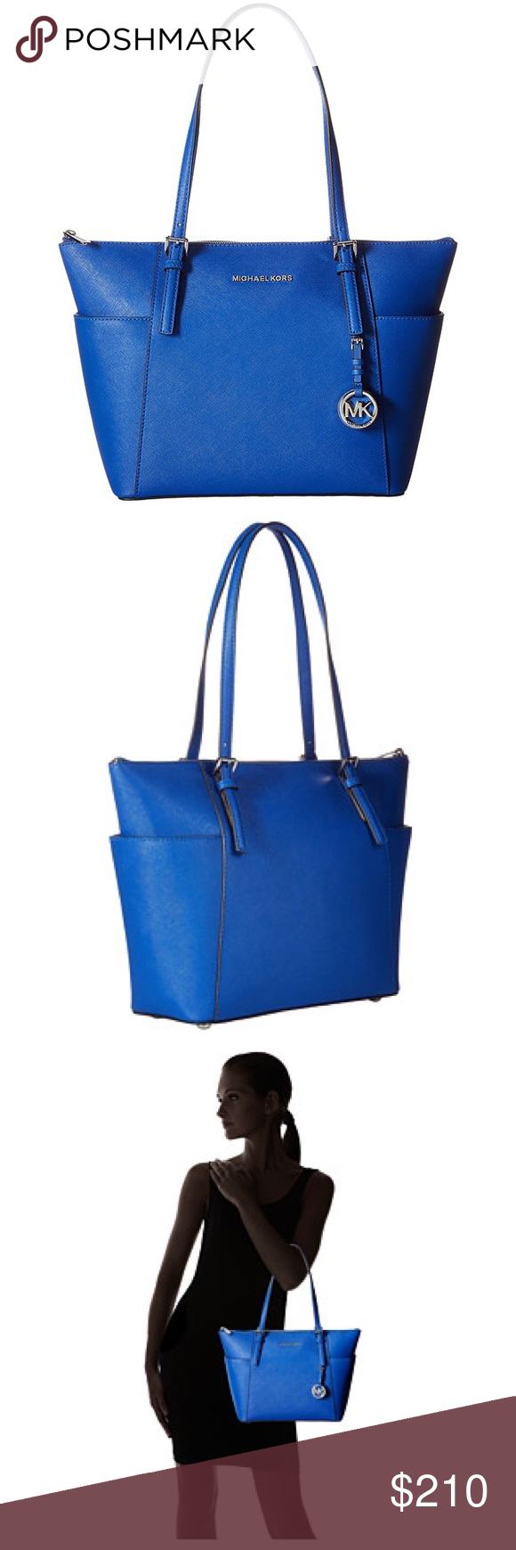 """Michael Kors Electric Blue Tote Brand new with tags! Absolutely stunning! Comes with dust bag. Measures 15"""" (at longest point) by 10.25"""" by 4.25"""".  Please feel free to make an offer. 😊 Michael Kors Bags"""
