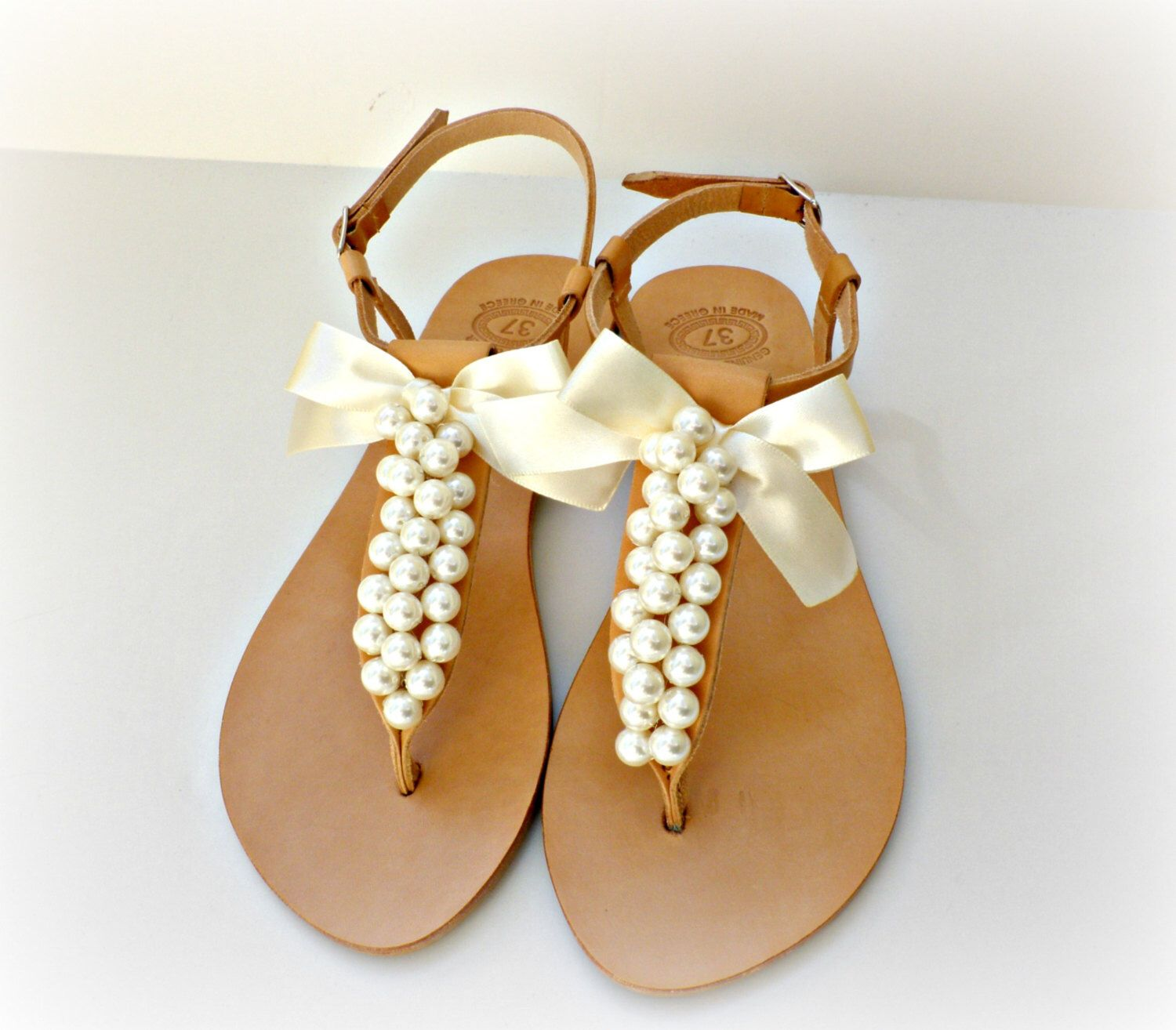 d88191836e0e34 Wedding sandals- Greek leather sandals decorated with white pearls and satin  bow -Bridal party