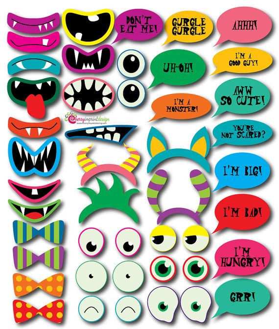 monster hallowen party printable diy photo booth props - Halloween Photography Props