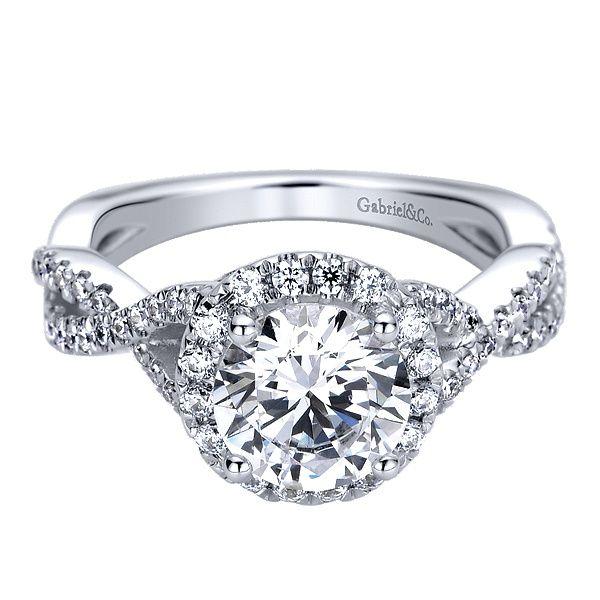 Gabriel - Marissa 14k White Gold Round Halo Engagement Ring