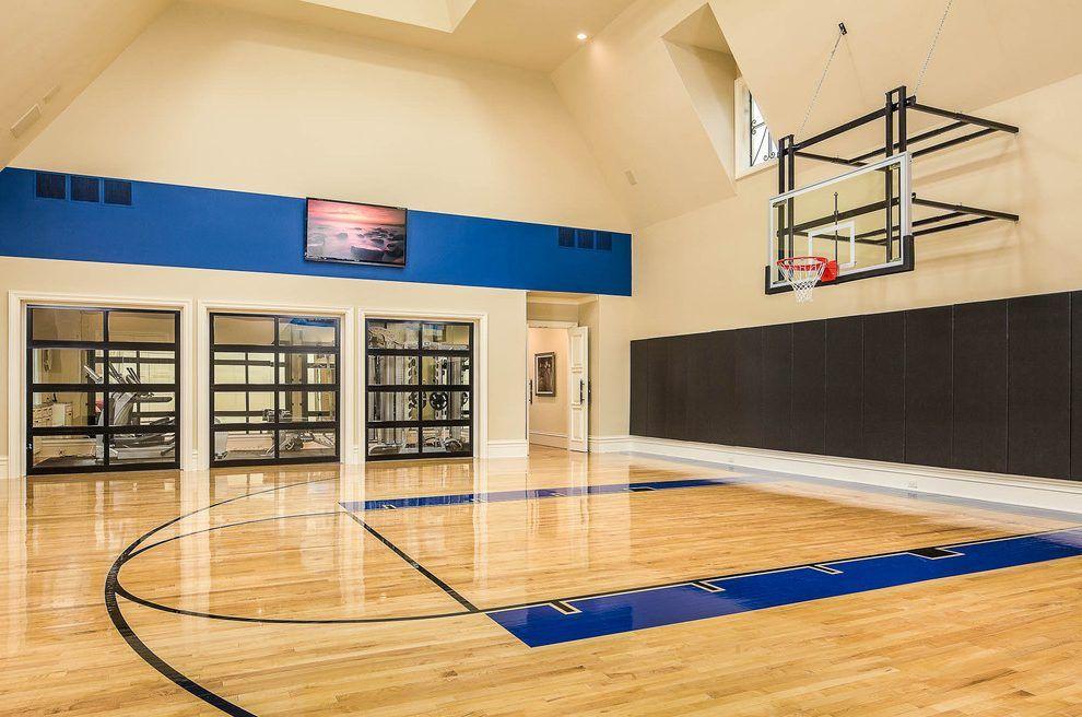 Large Indoor Sport Court Designs Home Gym Modern With Basketball Court Indoor Indoor Sports Court Home Basketball Court Basketball Room