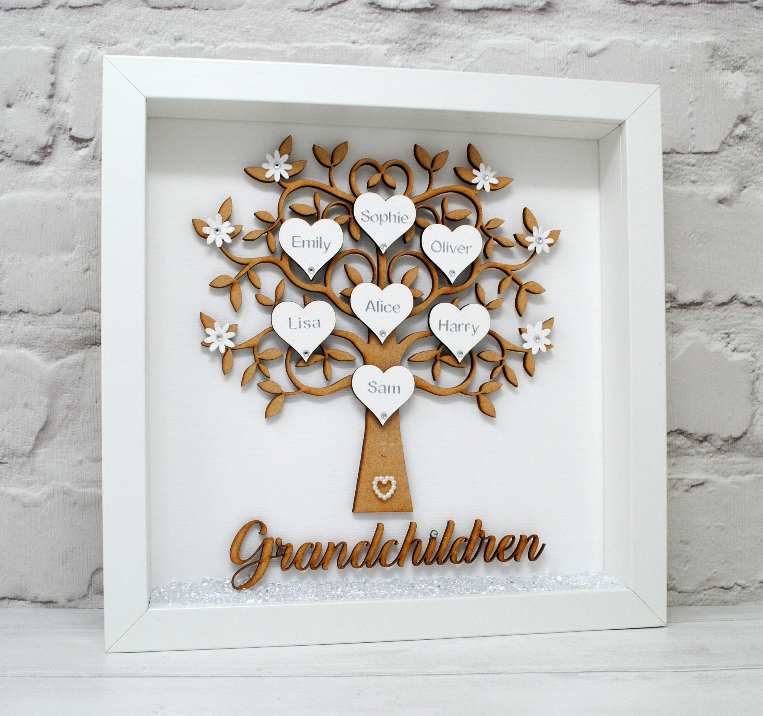 Personalised Family Tree Frame Nana Gift Nanny Gift Grandma Etsy Gifts For Nan Family Tree Frame Nanny Gifts