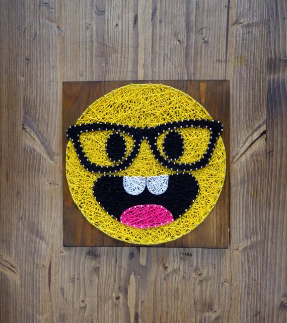 Emoji Wall Art modern emoji string art wall decor, smarty pants yellow emoji
