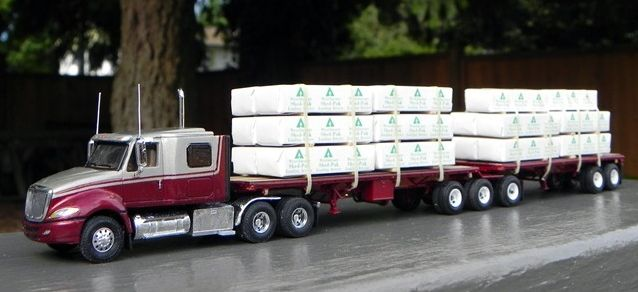 International Prostar Truck Tractor B Train Lumber Flatbed Trailers Flatbed Trailer Trucks Plastic Model Cars