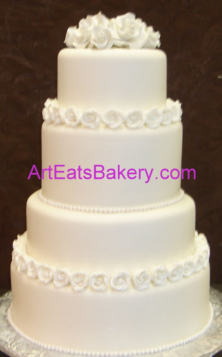 Round four tier fondant wedding cake ideas, designs and pictures ...