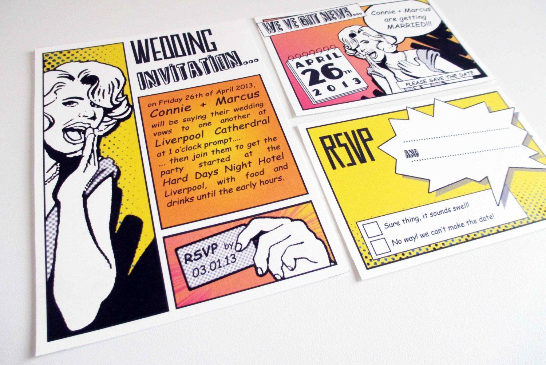 Retro comic pop art wedding invitation | design stuff | Pinterest ...