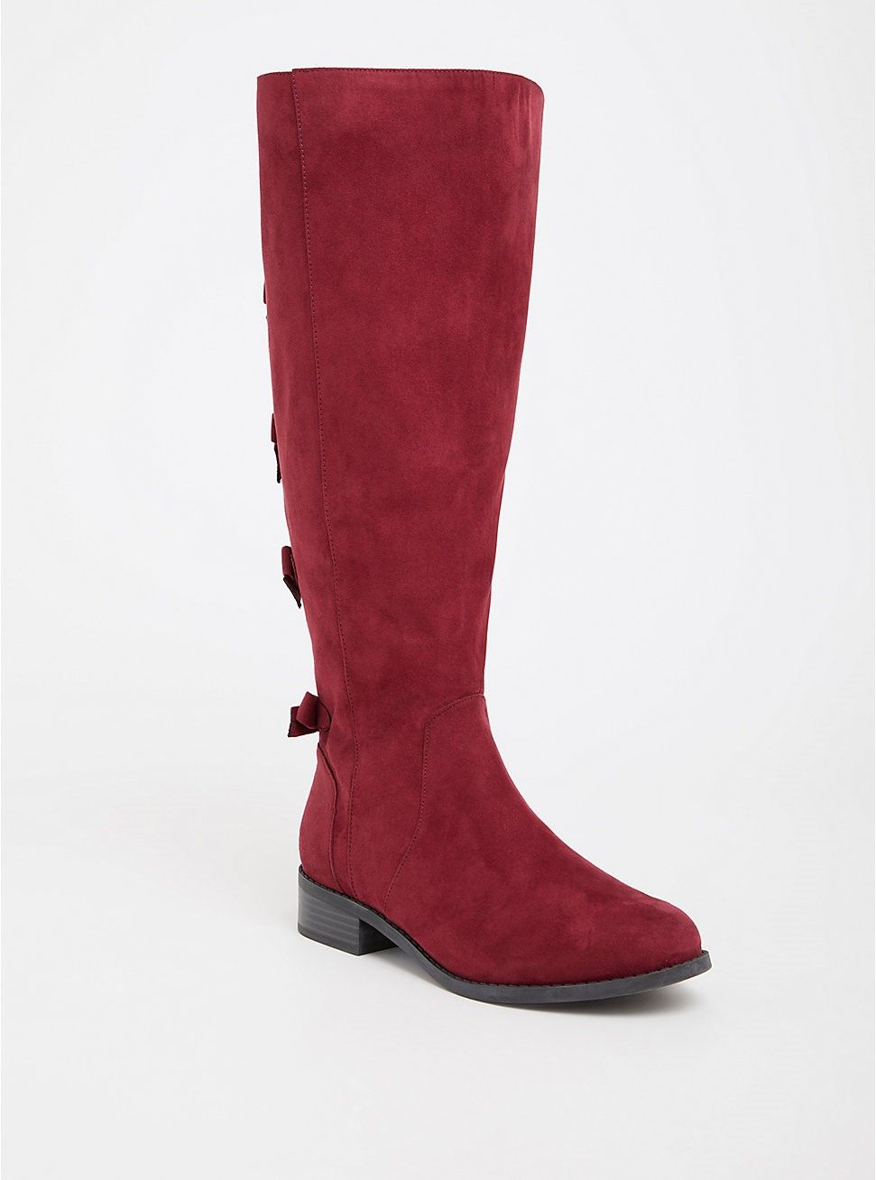 Red Bow Faux Suede Boot (Wide Width