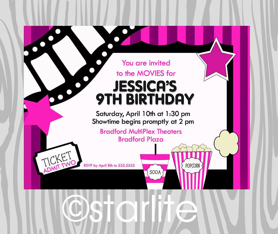 Birthday Party Invitation   Girls Hot Pink   Movie Theme   Night At The  Movies   Style 3   Birthday Invitation  Any Age   PRINTABLE  Free Printable Ticket Style Invitations
