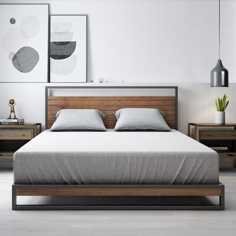 Zinus Ironline Metal And Wood Platform Bed Frame Base Mattress Platform With Headboard Bed Head Industrial Modern Sleek Double King Queen Single Size Wood Platform Bed Frame Bed Frame Modern