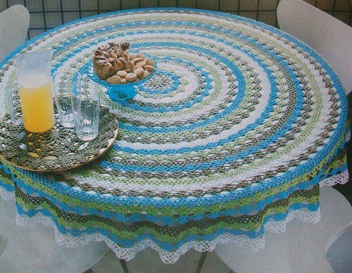 Gehaakt Rond Vierkleurig Tafelkleed Haken Pinterest Crochet En